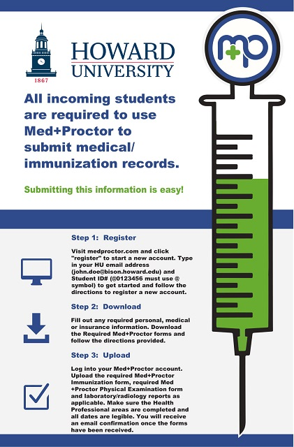 Flyer with an illustration of a vaccination and instructs regarding Med+Proctor.